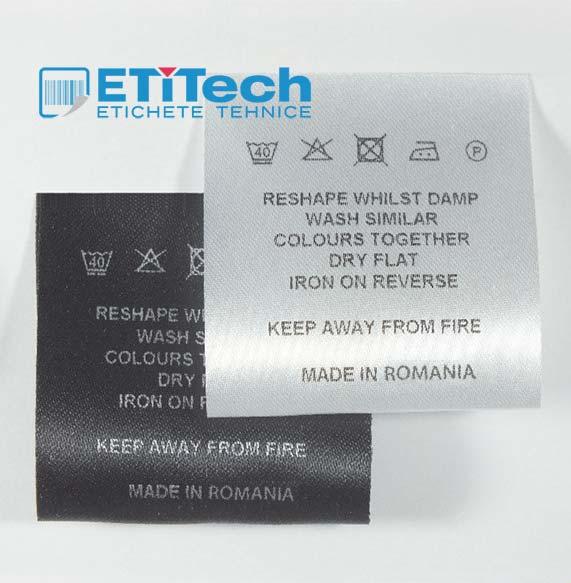 Etichete textile imprimate, satin si poliamida (RESINA)